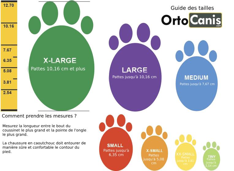 Chaussons pour chien Pawz - Guide des tailles